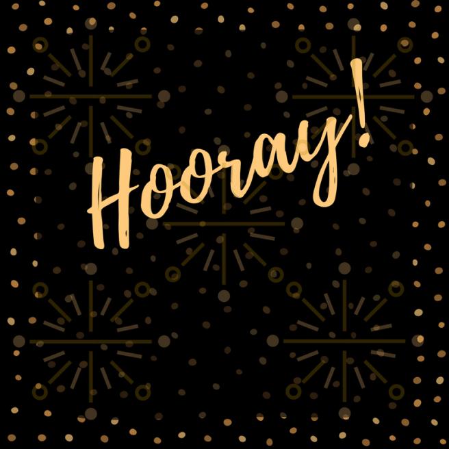 Gold Hooray on a black and gold celebratory background