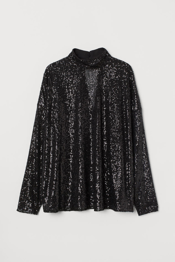 h m sequined blouse black - Your Best Holiday Style
