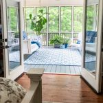 Screened In Back Porch Decorating Ideas With Swinging Day Bed