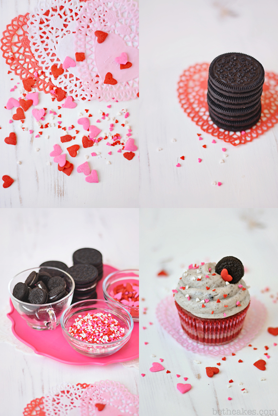 Pink Velvet Oreo Surprise Cupcakes. Super fun for Valentine's Day! - bethcakes.com