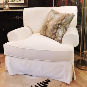 Slip Covered Swivel Chair and Ottoman