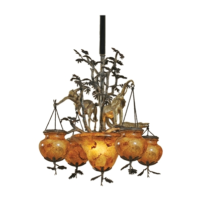 Dark Bronze & antique brass animal motif chandelier