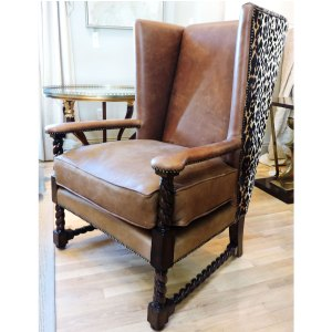 Leather Chair with Leopard Hide