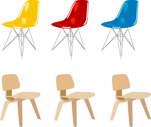 6 Eames Chairs