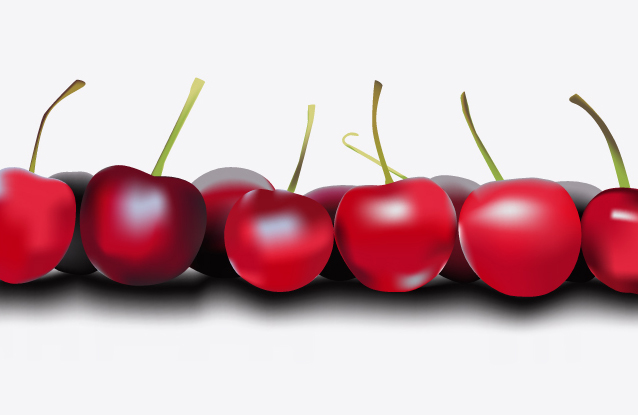 Cherries made using the mesh gradient tool in illustrator.