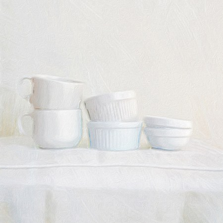 White Still Life with Cups