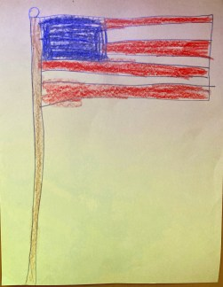 students drawing of american flag
