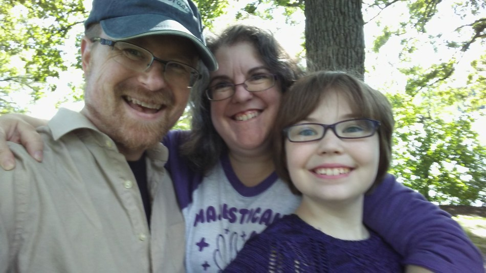 Mark, Julianne and Rhiannon Bruce. Our first family outing after Mark's surgery at Silverwood Park in New Brighton.