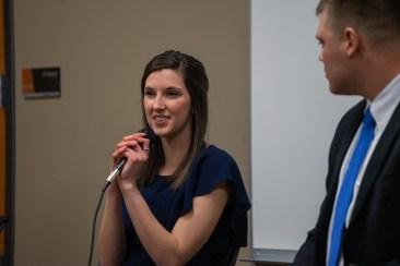 Candidate Elizabeth Szilagyi explaining her and David Jankowski's platform. | Photo by Jake Van Loh