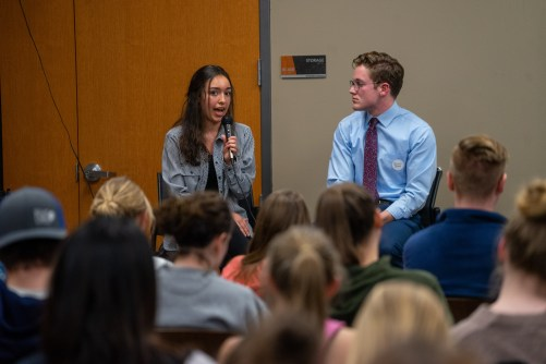 Candidates Kaylee Schmidt and Jack Sisson answering moderator questions. | Photo by Jake Van Loh