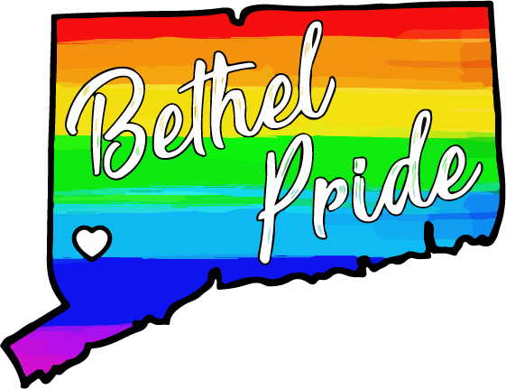 Bethel CT Pride Parade and Celebration Logo. Bethel CT Pride celebrates the LGBTQ+ community, including gay, trans, intesex, genderqueer, non-binary, and ace individuals.