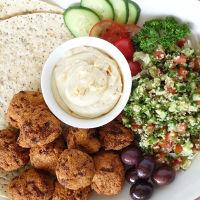 falafel, hummus, veggie burger mixess