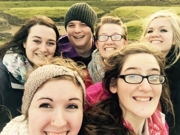 Group selfie at Roman ruins in St Albans