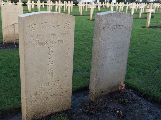 Indian and Chinese gravestones at Lijssenthoek Cemetery