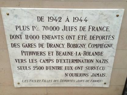 Gare de l'Est memorial to French Jews killed in the Final Solution