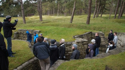 Our guide, Carl Ooghe, giving the class a very animated lecture on the importance of mortars during the war.