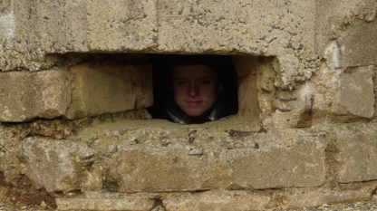 Brandon keeps a keen lookout from his fortified bunker.