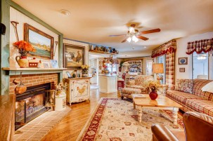 Cozy family room with gas log fireplace