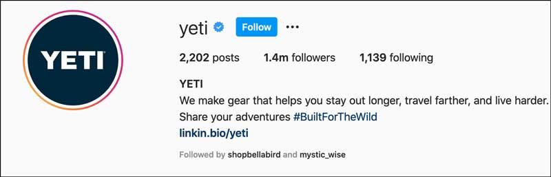 Yeti on instagram