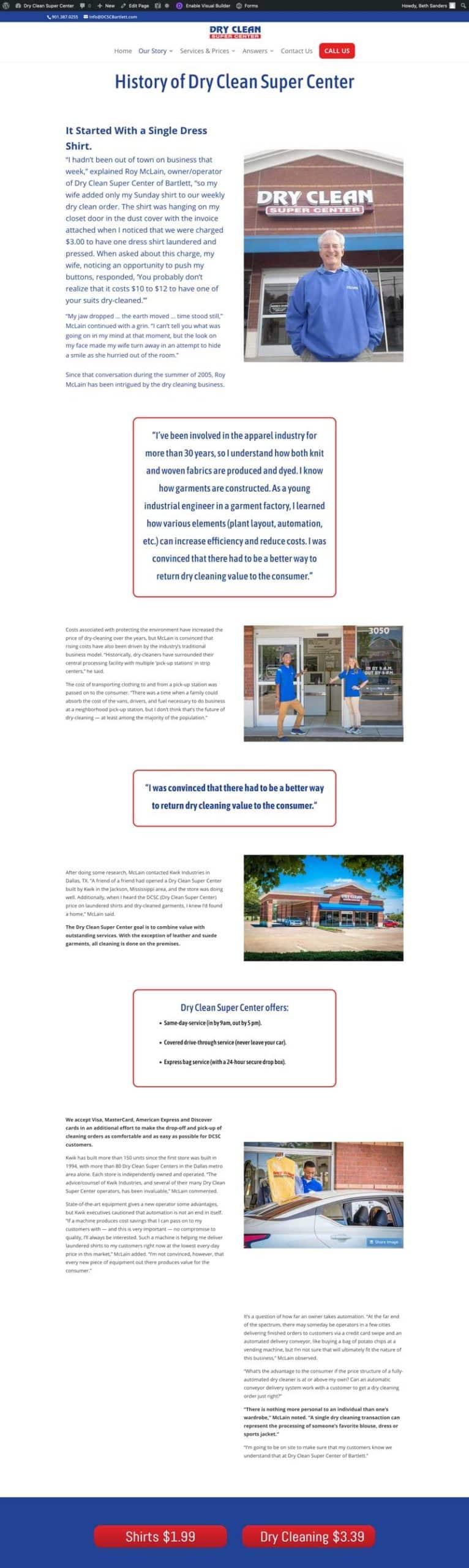 dry cleaner website