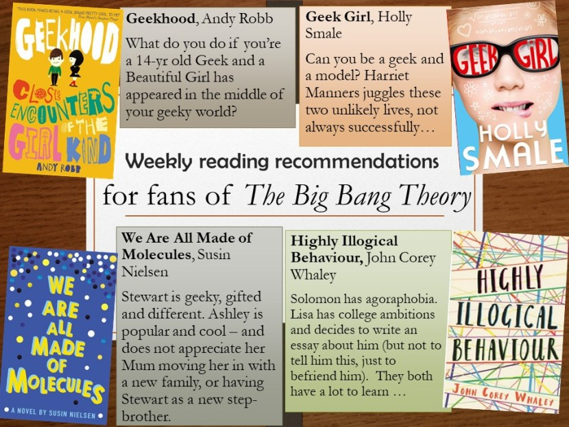 Four book covers and accompanying blurbs, recommending titles for fans of TV show The Big Bang Theory.
