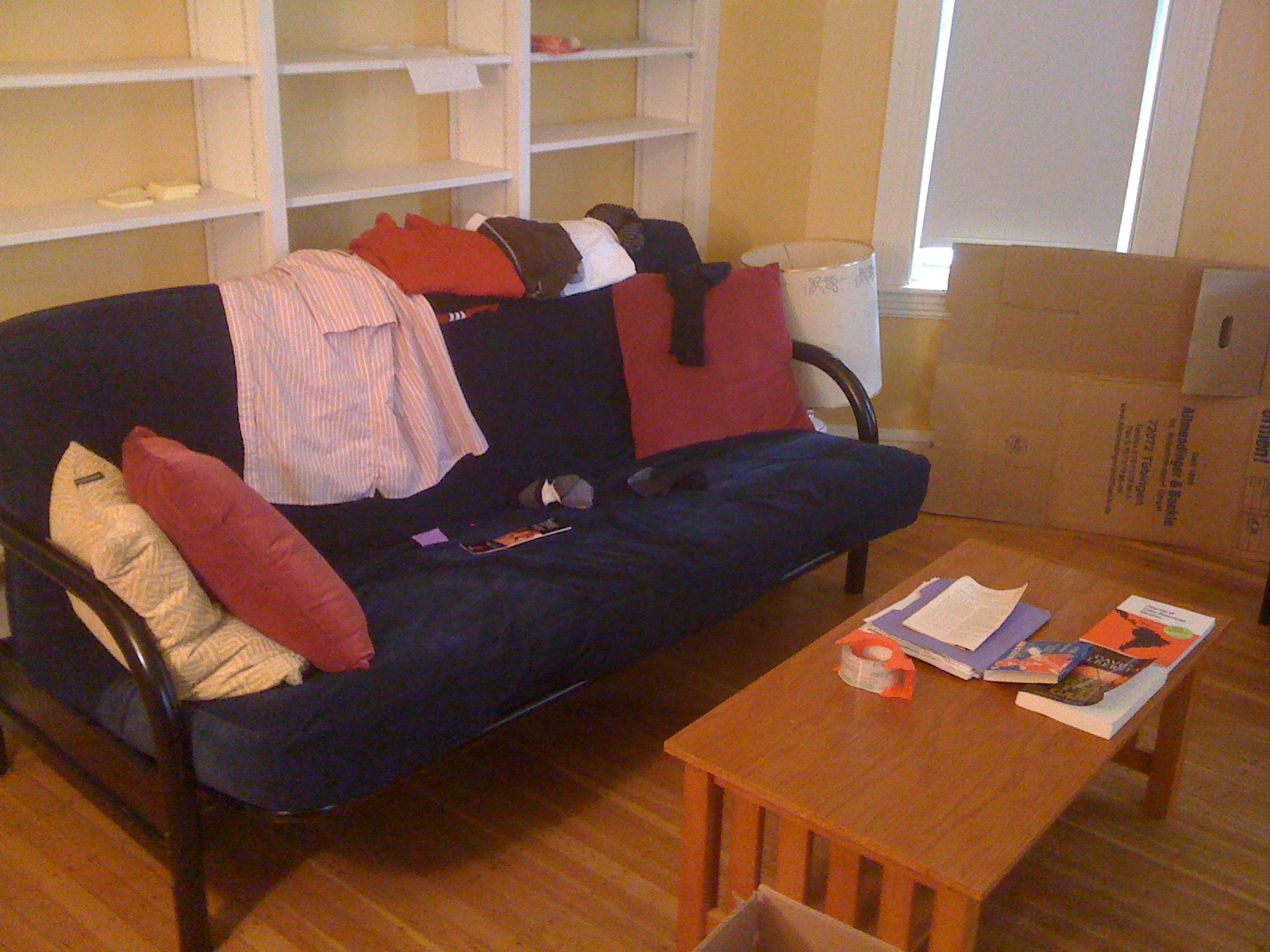 A picture of our fold-out futon in Cambridge. But we want you to visit us, really, we do!