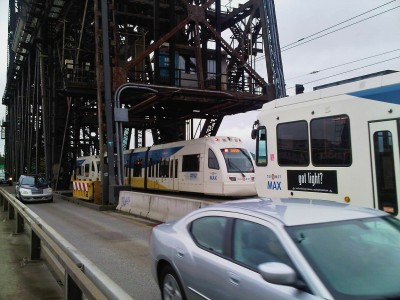 light rail crossing Steel Bridge Portland