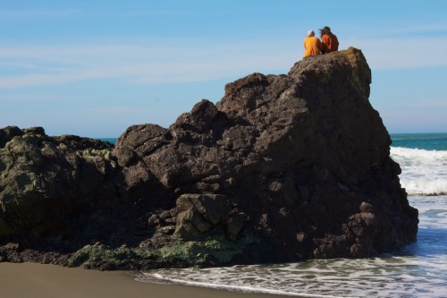 couple on rocks, Trinidad State Beach, California beaches