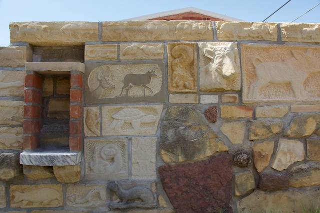 Hays Stone Gallery new carvings and shelf April 2015
