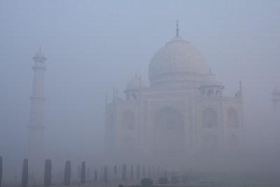 The Taj Mahal in early morning smog, December 2015, Agra, India.