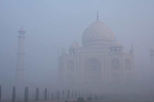 The Taj Mahal in early morning smog, December 2015, Agra, India.