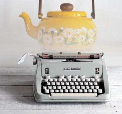 typewriter and teapot