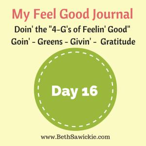 My Feel Good Journal - Day 16 http://www.BethSawickie.com