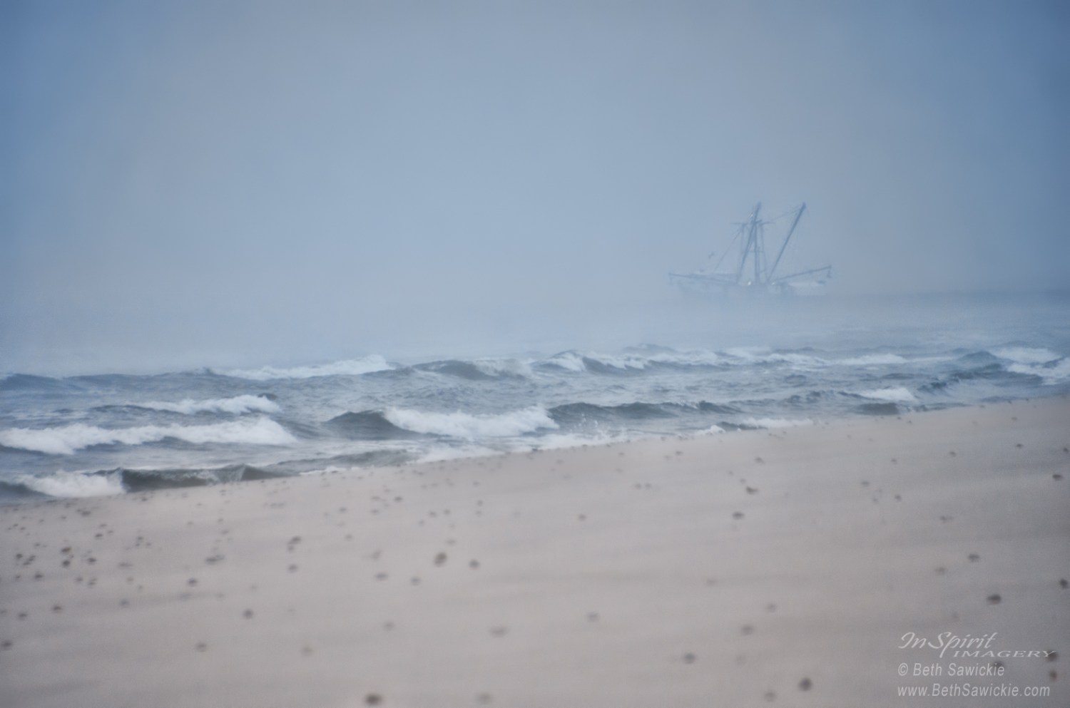 "Image by Beth Sawickie. http://www.BethSawickie.com ""Out to the Foggy Sea - Barnegat Inlet"""