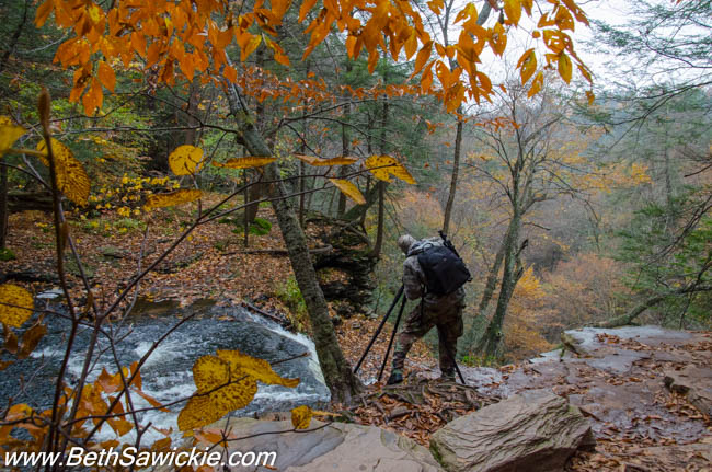 Doug Venner at top of Mohican Falls, Ricketts Glen, PA 1 by Beth Sawickie http://bethsawickie.com/our-ricketts-glen-adventure/