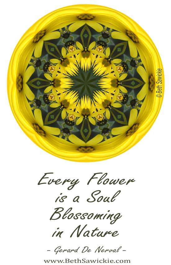 Yellow Flower Sphere Mandala http://www.BethSawickie.com