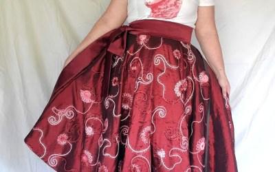 Large Full Circle Tea Length Wrap Skirt – Wine