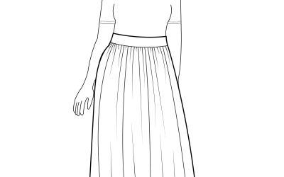 Tea Length Gathered Cotton Skirt