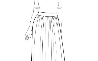Maxi Length Gathered Cotton Skirt