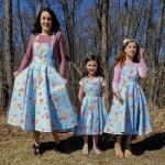 Pinaskirts in blue and orange floral on a mom and her two cute daughters
