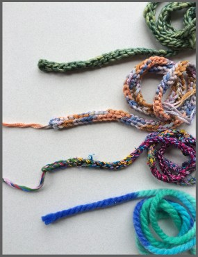 Several types of cord for braiding.