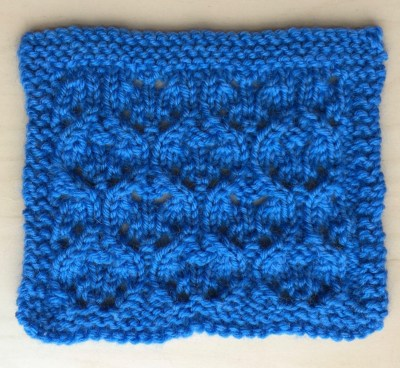Swatch: Flowing Lace (mult of 8 sts +1; 16 rows)
