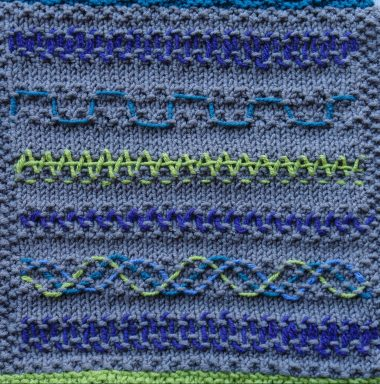 Myra's blanket square, faux couching