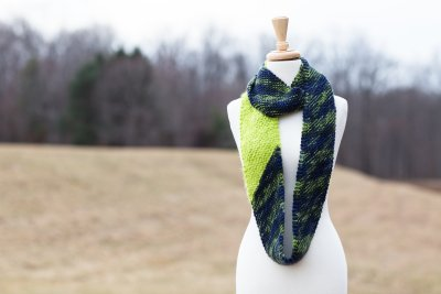 Cosset cowl, apple green and lime blue