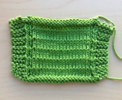 coaster with knitting complete