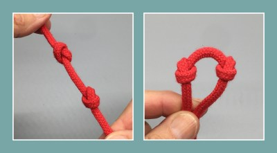Overhand knots two ways.