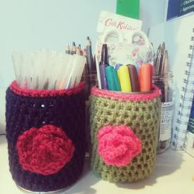 Pen Pots with Roses