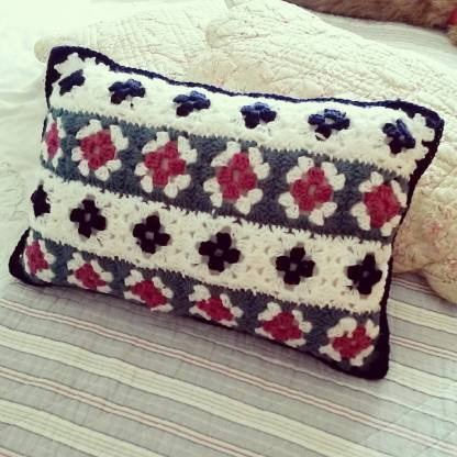 Multicoloured Granny Square cushion for Mum
