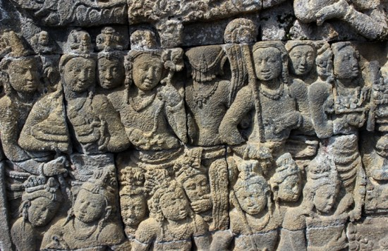 One of design wall relief, Borobudur Temple