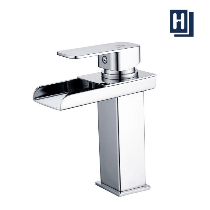 robinet salle de bain cascade mitigeur de lavabo pour l eau chaude et froide hauteur sous bec 120mm design moderne